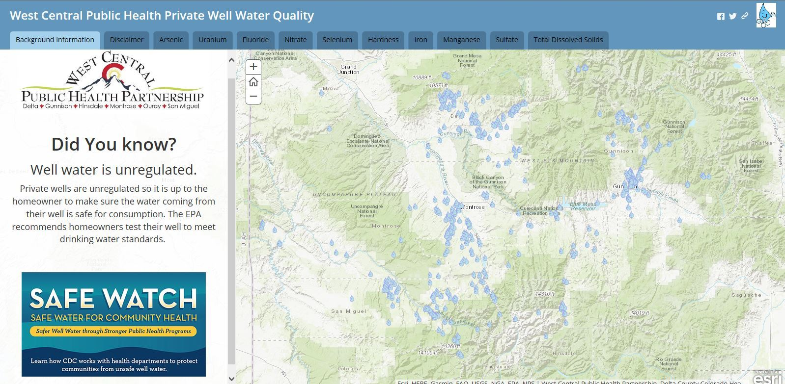 Well Water Quality Map Opens in new window