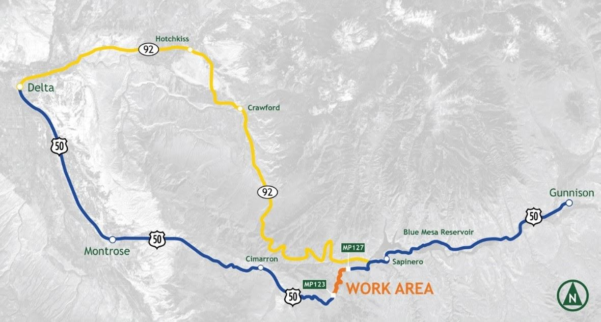 Hwy 50 Detour Map on Hwy 92